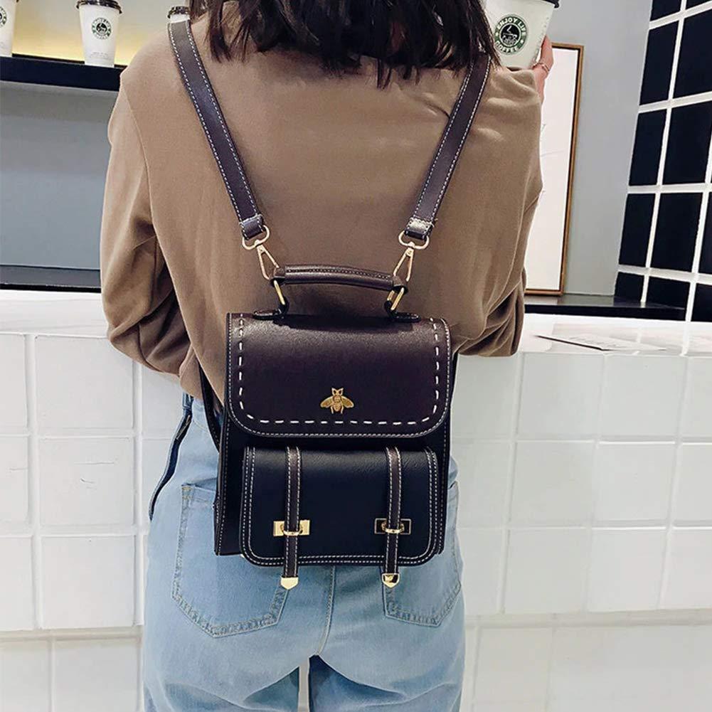 Stöldskydd ryggsäck kvinnor, liten bi vintage mode PU-läder enkla ryggsäckar i college-stil, vattentät vandring skolväska ryggsäck väska Väskor S Svart Svart