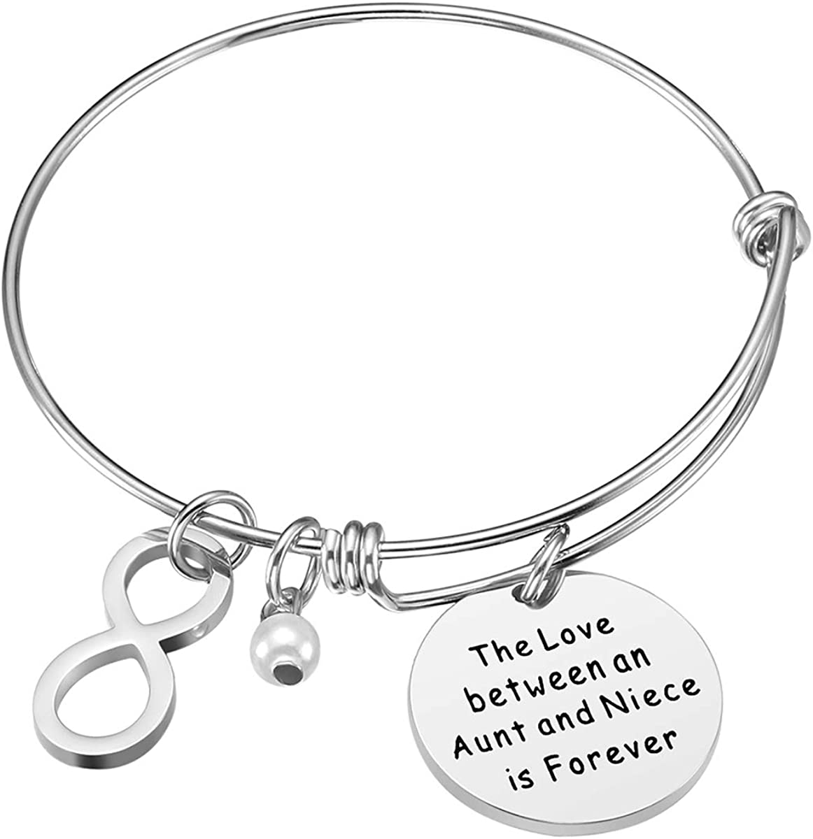 iJuqi Aunt Gift From Niece Aunt Niece Bracelet Aunt Birthday Gifts The Love Between An Aunt and Niece Is Forever Stainless Steel Aunt Jewelry Gift