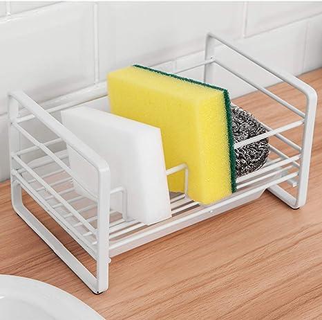 Amazon Com Sponge Holder Kitchen Sink Organizer Sink Caddy Sink Tray Soap Holder White Kitchen Dining