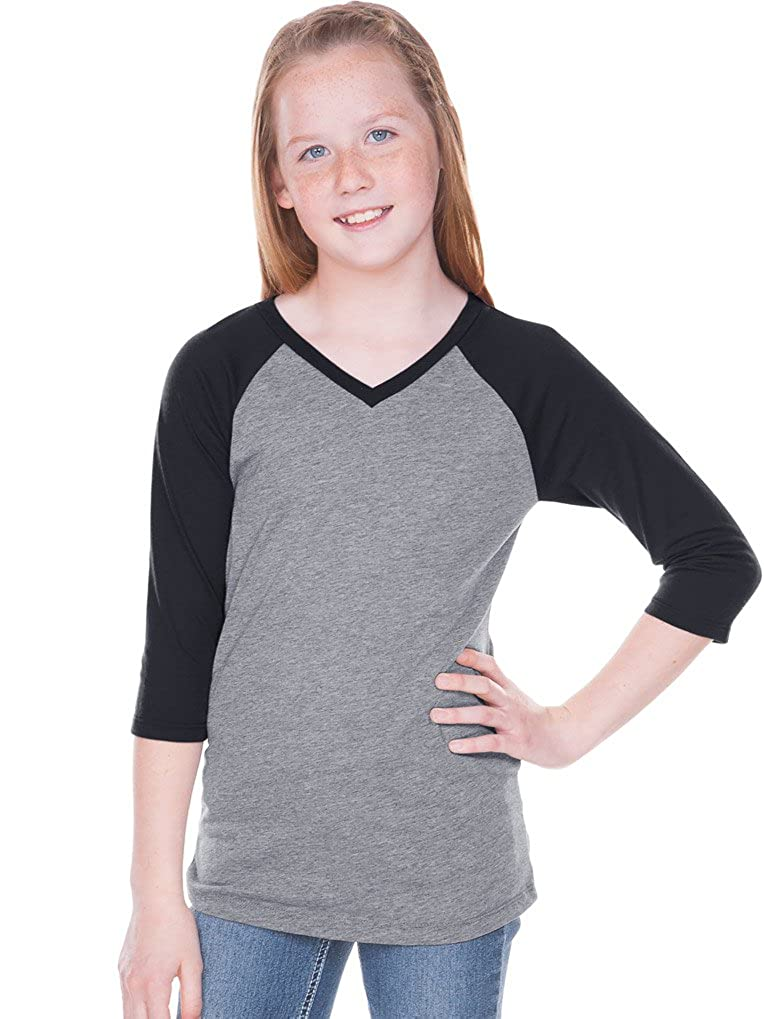 55f1a2e5 Big Girls 7-16 Sheer Jersey Contrast V Neck Raglan 3/4 Sleeve: Clothing
