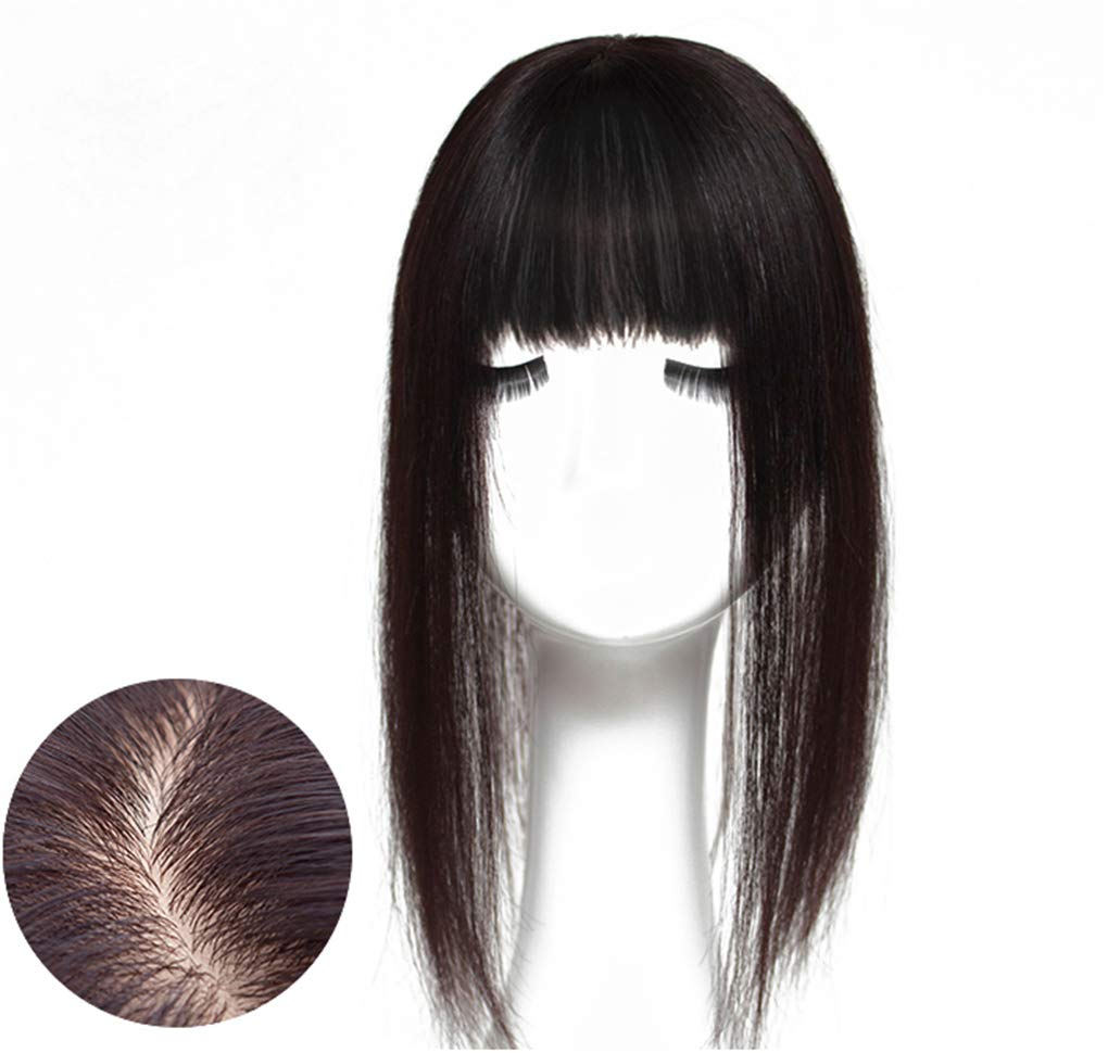 Human Hair Toppers for Women, Crown Topper Hairpieces with Bangs Clip in, 2.4''x 4.7'' Silk Base (14'' Off Black)