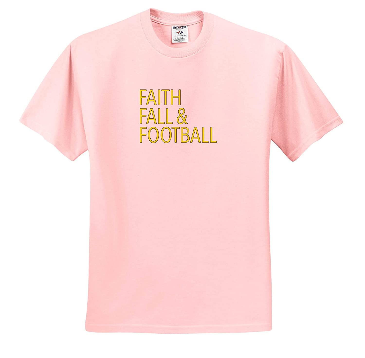 Faith Fall and Football Yellow T-Shirts Funny Sayings 3dRose EvaDane