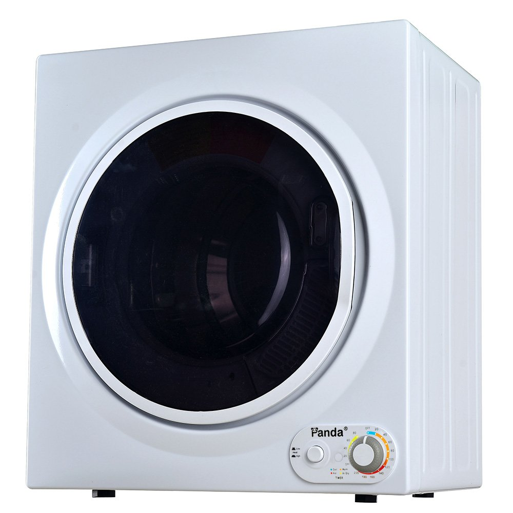 Panda 3.75 cu.ft Compact Laundry Dryer, 13.2lbs Capacity, Control Panel Downside, PAN760SF White and Black by Panda