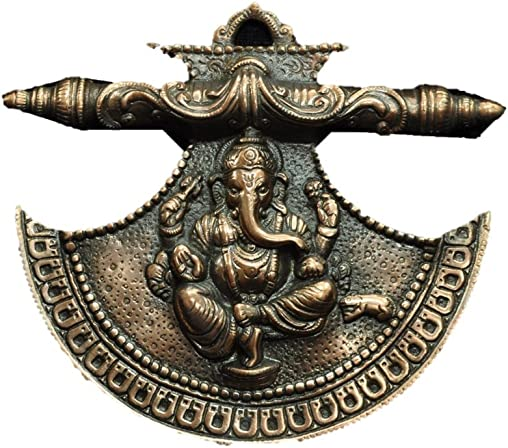 TRUSTED SELLER Chinese Fan Ganesh Statue Handmade of Metal Copper Plated Art Home Wall Hanging Decor Best Gift