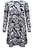 LADIES WOMENS HALLOWEEN SWING SKULLS SPIDER WEB PUMPKIN BLACK TOP SKATER DRESS PLUS SIZE 8/26 (16-18, Pumpkin)