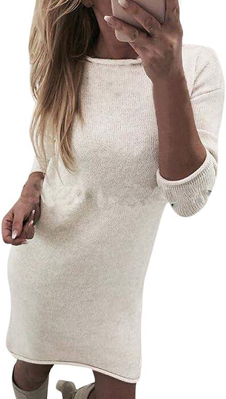 ab943051563e77 Homebaby Maglione Lungo Donna Invernale Elegante Vintage Felpe a Maglia  Vestito Tumblr Jumper Camicetta Primavera Ragazza Tops Manica Lunga Giacca  Cardigan ...