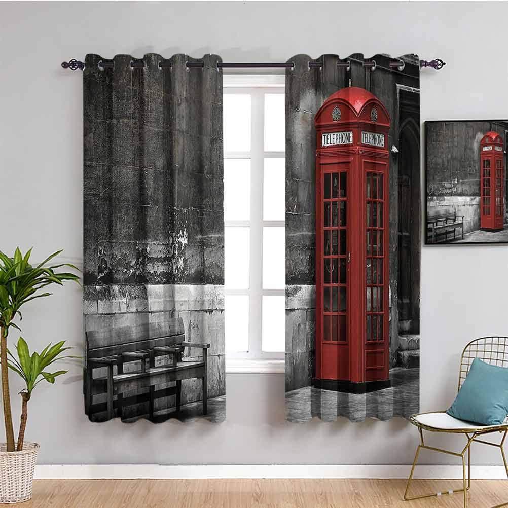 Cortina de aislamiento térmico Londres famosa británica para botas de teléfono en Londres Streets Importante icono de la ciudad Urban Life Foto cortina interior rojo gris W63 x L63 pulgadas