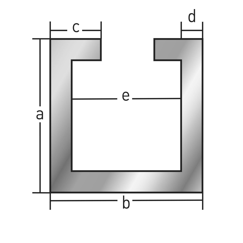 M10 Schraube x 1.000+-4 mm Alu C-Profil ELOXIERT 13x22x6x2,75 mm