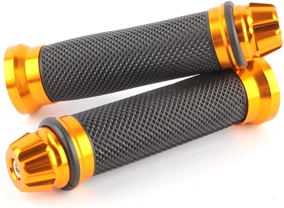 Custom Motorcycle Sport Bike CNC Aluminum 7//8 22mm Handlebar Rubber Gel Hand Grips For Chopper Cruiser Bike