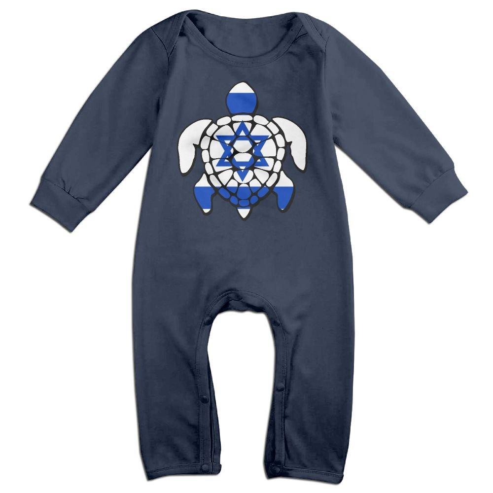 Mri-le1 Baby Girl Jumpsuit Israel Flag Turtle Toddler Jumpsuit