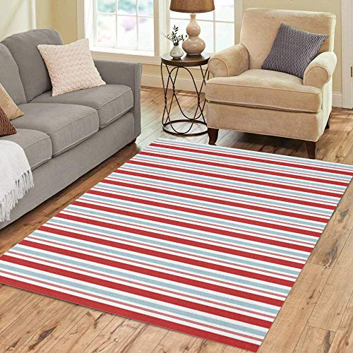 Pinbeam Area Rug Seuss Red and Blue Stripes Pattern Circus Americana Home Decor Floor Rug 5' x 7' Carpet