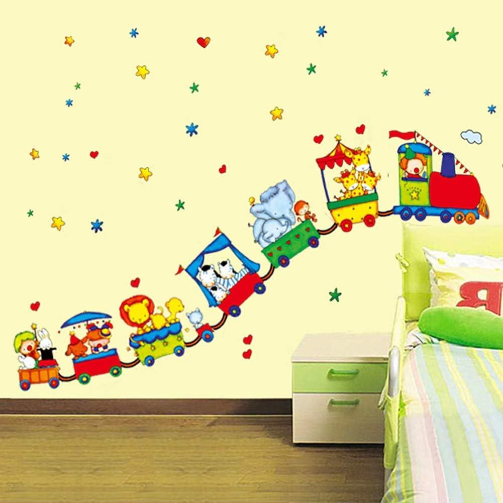 devil home Sticker mural en PVC pour chambre denfant motif Petit train de voitures