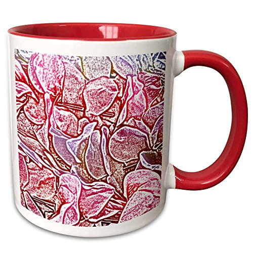3dRose Susans Zoo Crew Flowers - lei sketch pink flowers image - 15oz Two-Tone Red Mug (mug_186611_10) (Tone Lei Two Flower)