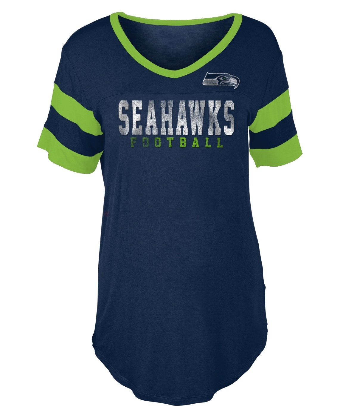 Amazon.com   New Era Seattle Seahawks Women s Double Stripe Short Sleeve V-Neck  T-Shirt   Sports   Outdoors 1e0535634