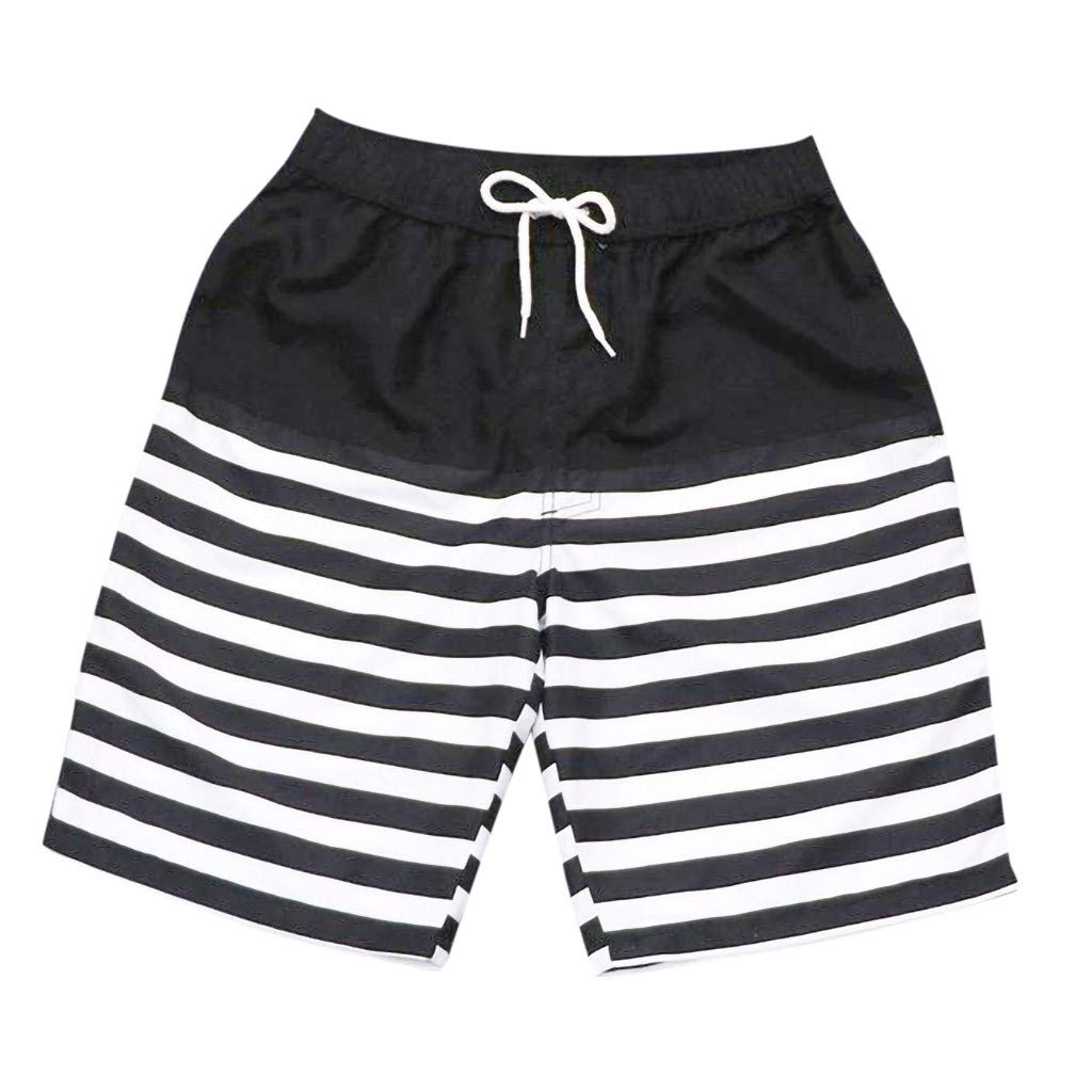 Men's Outdoor Pants Shorts Swim Trunks Quick Dry Beach Surfing Running Extreme Comfort Relaxed Watershort Size M-4XL (Waist 28-29'' (Tag Asian M), Black)