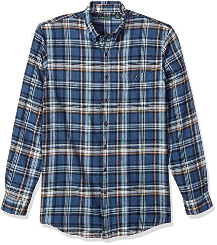 Tall Flannel - G.H. Bass & Co. Men's Big and Tall Fireside Flannel Long Sleeve Shirt, Ensign Blue, Large