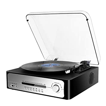 DLITIME Tocadiscos Vinyl Record Player 3 Velocidades para un ...