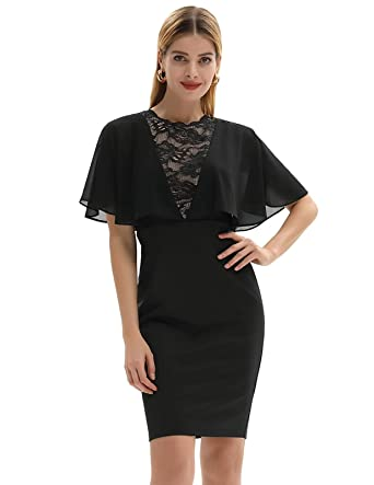 0d050b159499 GRACE KARIN Women s Off Shoulder Batwing Cape Pencil Midi Dress at ...