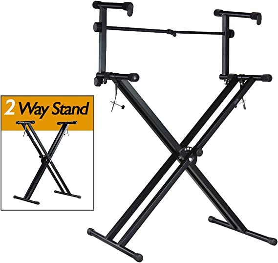 PARTYSAVING Pro Series Portable 2 Tier Doubled Keyboard Stand with Locking Straps APL1158