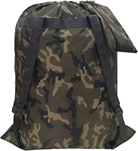 "CALACH Large Camo Laundry Bag Backpack 27"" x 34"" Sturdy and Tear Resistant Polyester Backpack with Drawstring Closure and Strap Machine Washable Dorm Travel Heavy Duty Fold Laundry Bag for Women Men"
