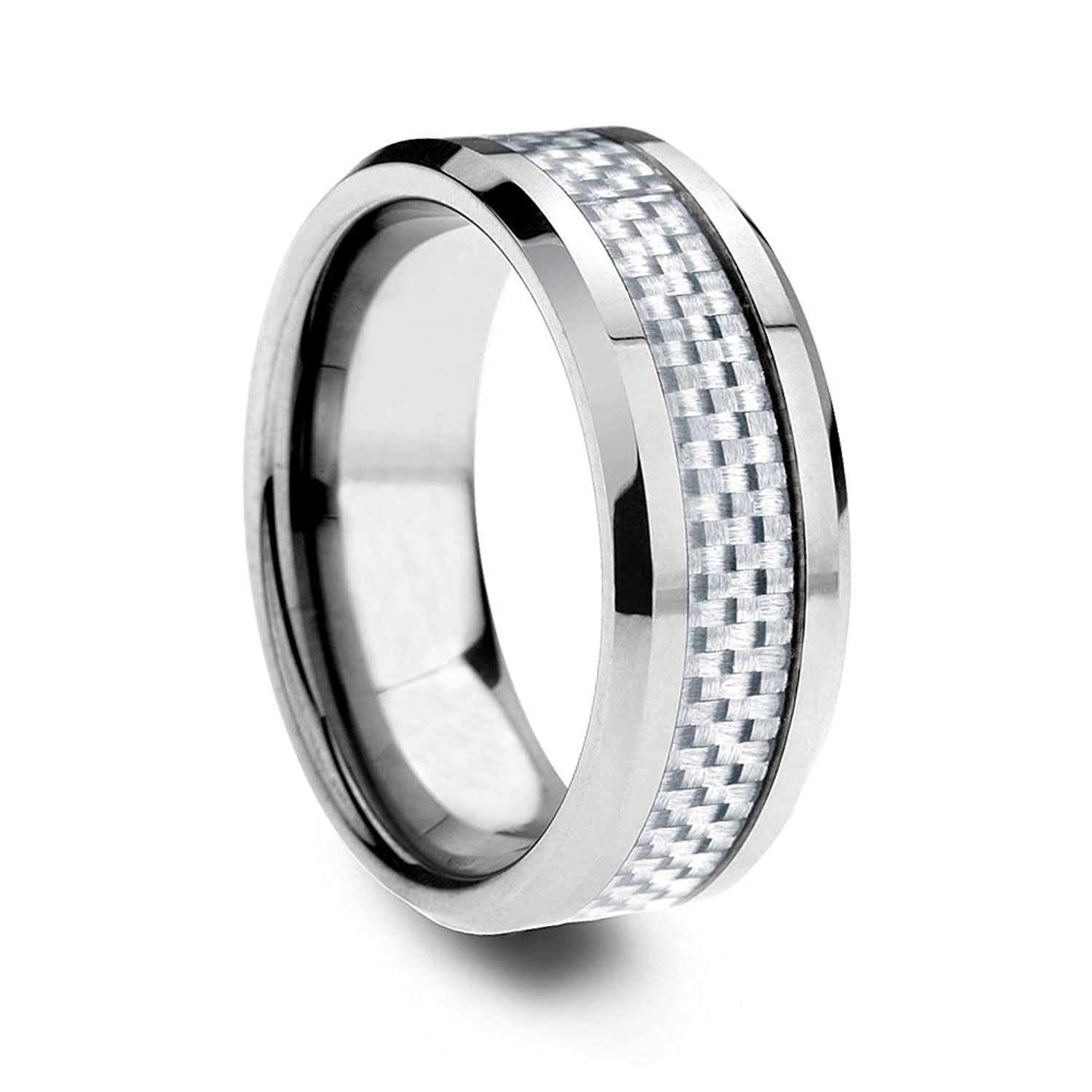 ring wedding rings com with carbide luxurious dp edge jewelry carbon ulxgedvl tungsten fiber white amazon beveled
