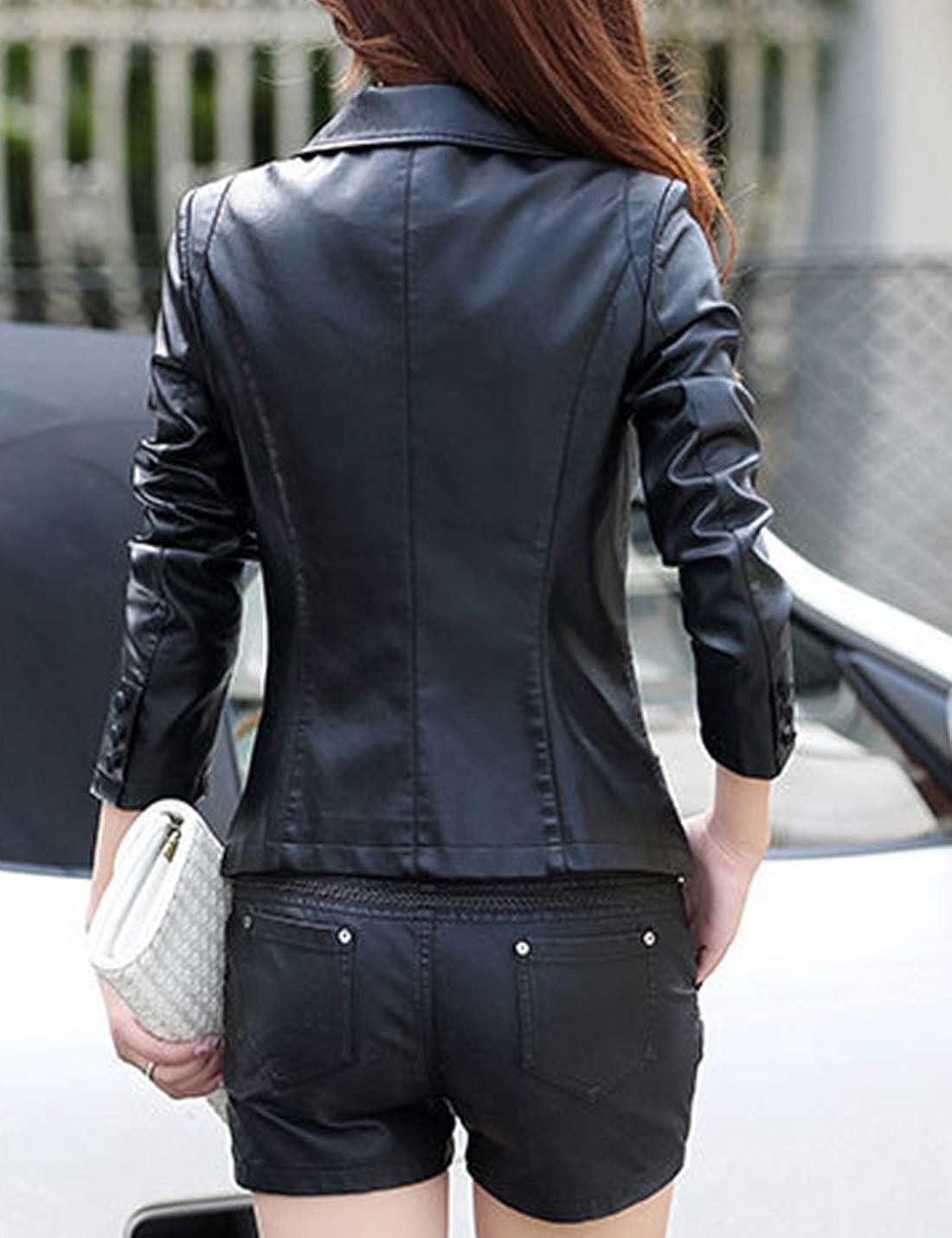 Tanming Womens Spring Autumn Lapel Button Down Faux Leather Jacket Suit  Jackets Coat at Amazon Women s Coats Shop 439cc3d2d