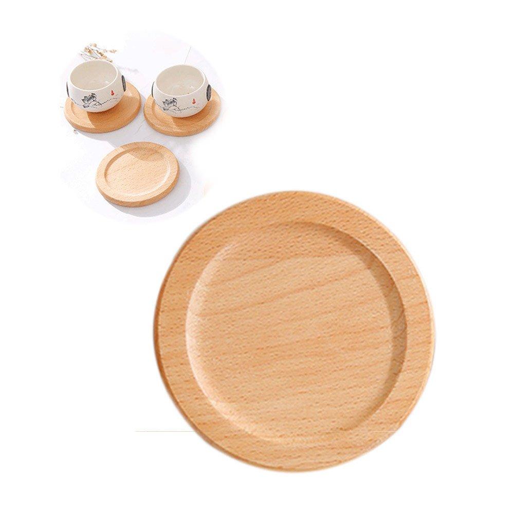 UPKOCH Conjuntos de madera de los platillos de la taza de t/é del posadero para la bebida del caf/é del t/é con el tenedor del pr/áctico de costa