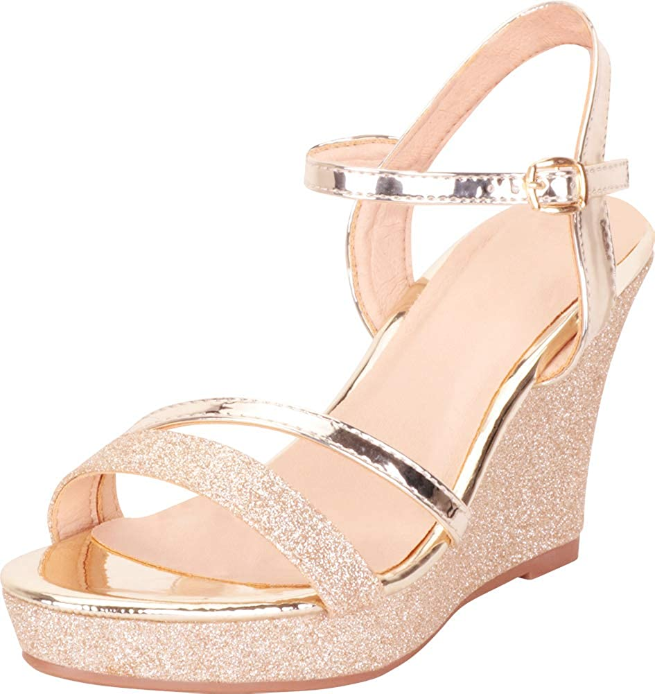 gold Cambridge Select Women's Strappy Glitter Chunky Platform Wedge Sandal