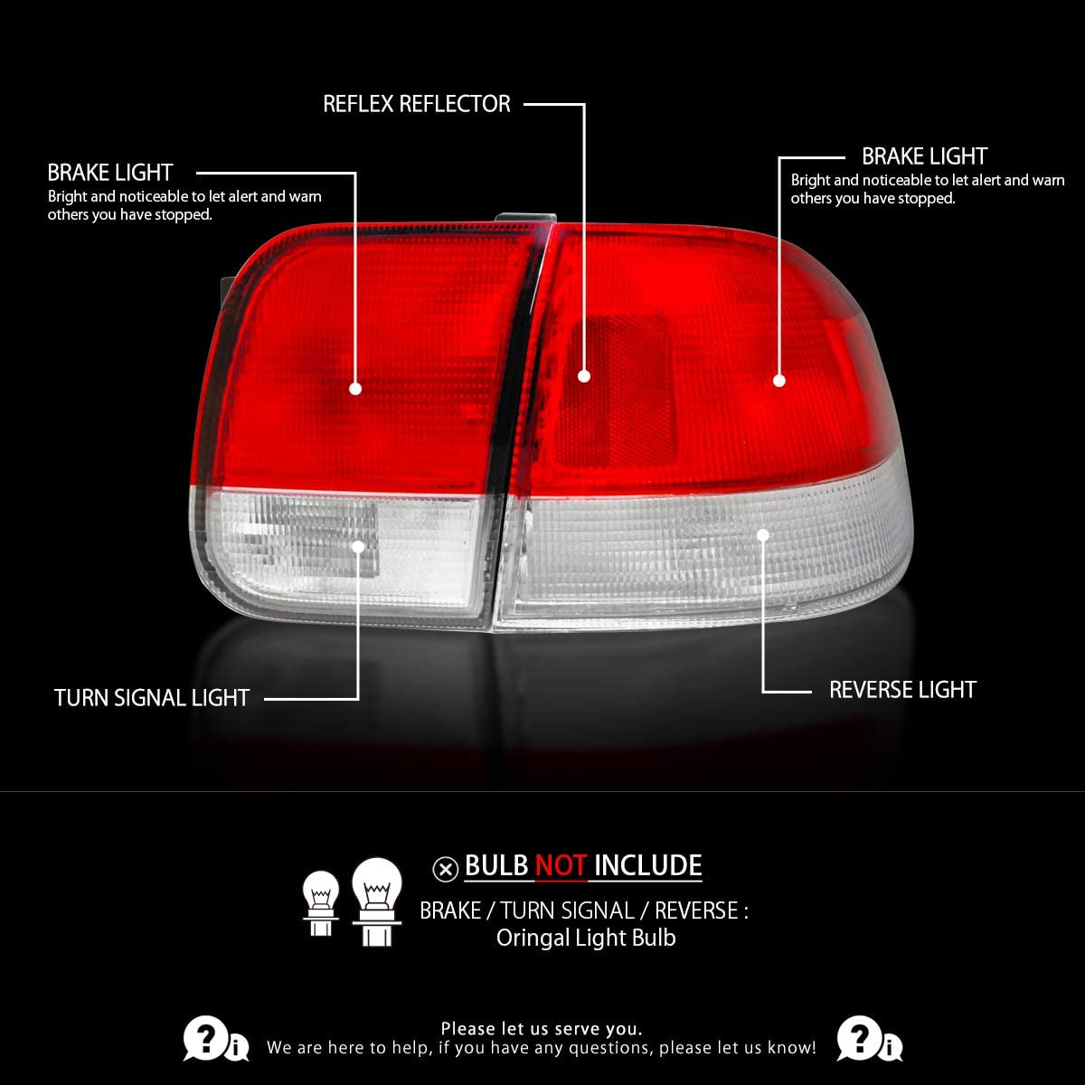 Autozensation For Honda Civic Sedan Red Clear Lens Tail Lights Rear Lamps Pair