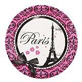BirthdayExpress Paris Eiffel Tower Damask Party Supplies - Dinner Plates (8)