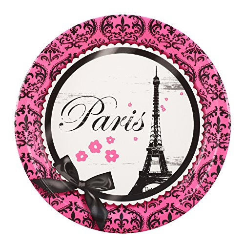 BirthdayExpress Paris Eiffel Tower Damask Party Supplies - Dinner Plates (8)