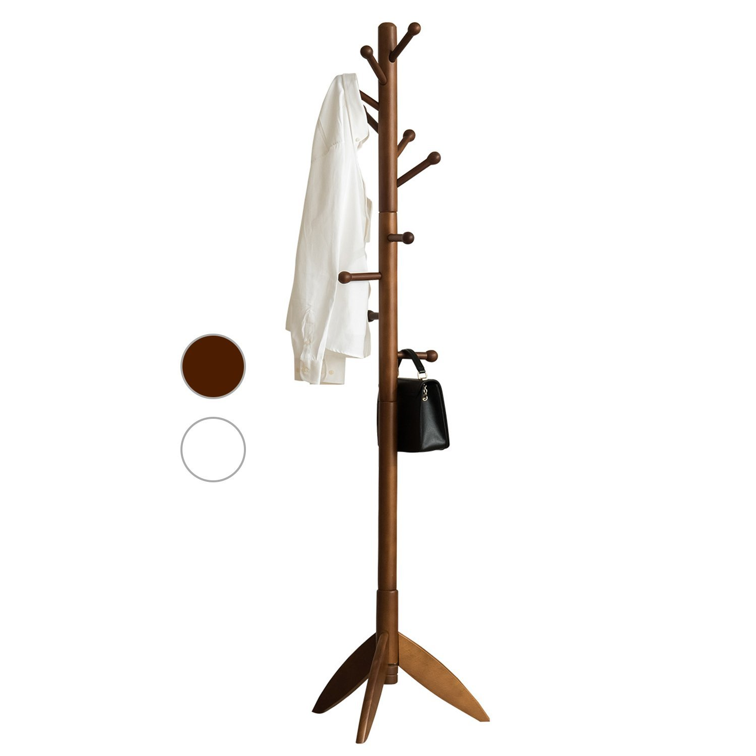 LCH Sturdy Coat Rack Solid Rubber Wood Hall Tree with Tripod Base, 11 Hooks(Coffee)