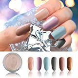 6 Box/Set Fine Dipping Powder Nude Violet Sky Blue Grey Colors No Need Lamp Cure Dip Powder Nails,Like Gel Polish Effect, Even & Smooth Finishing (08-32-48-103-44-46-10g/box)