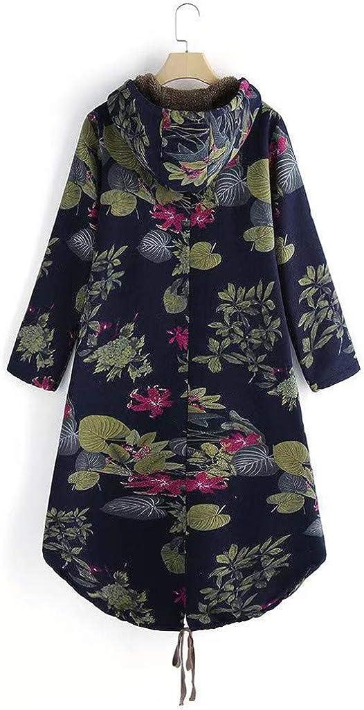 Floral Hooded Long Coat Women Winter Warm Vintage Outwear Pockets Button Jackets