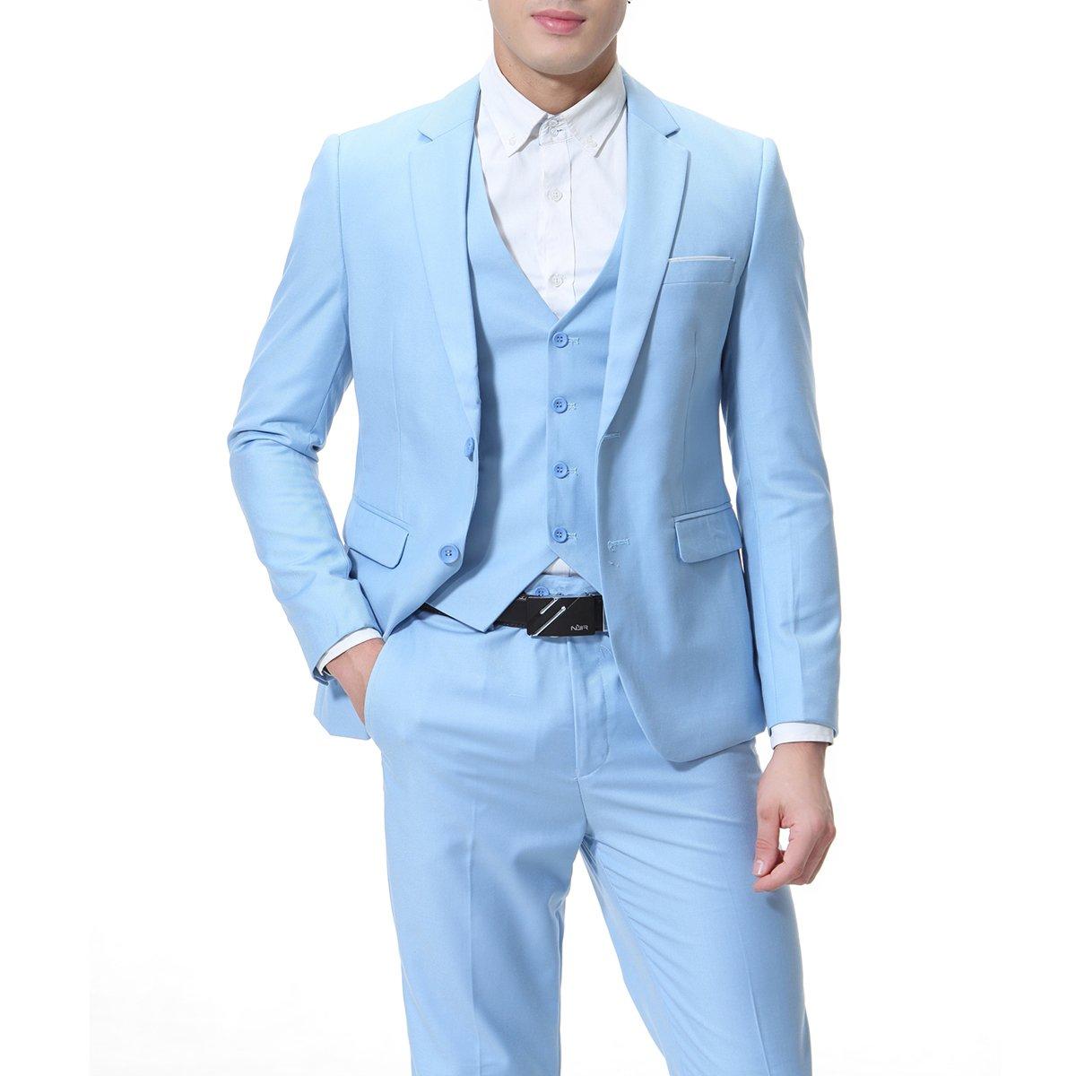 Mens Suits 3 Piece Reguler Slim Fit Wedding Tuexedo Suit for Men Business Casual Wedding Suits Jacket Blazer Waistcoat Trousers