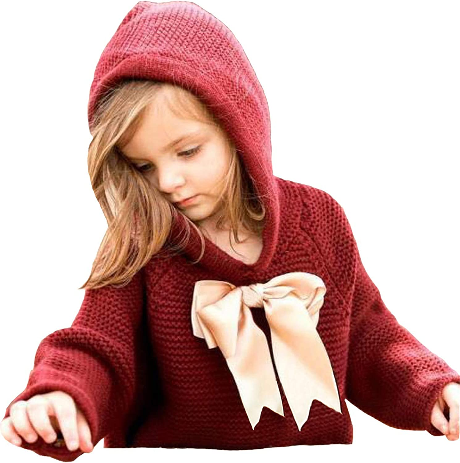 ReachMe Baby Girl Hooded Pullover Sweater Knitted Cardigan Coat Winter Outerwear