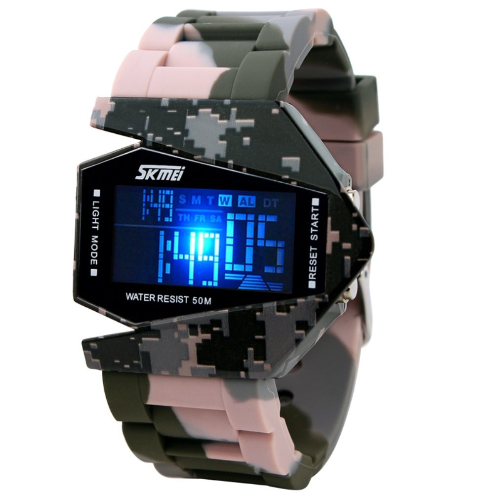 Military Watch Colorful Light Stealth Fighter Style Waterproof Digital Sport Wrist Watch - White