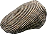 Mens Wool Blend Houndstooth Ivy Golf Driver Hat Irish Hunting Gatsby Flat Cap (M)