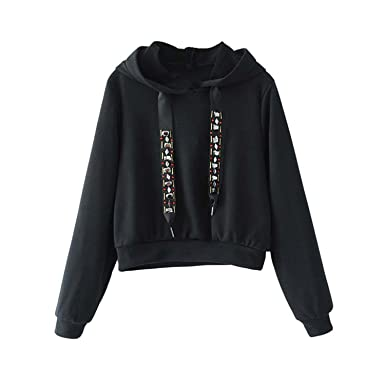 Kebinai Fashion Women Casual Hooded Short Diamond Tie Long Sleeve Black Gray Pullover Ladies Autumn Tops Sudaderas SW1229 at Amazon Womens Clothing store: