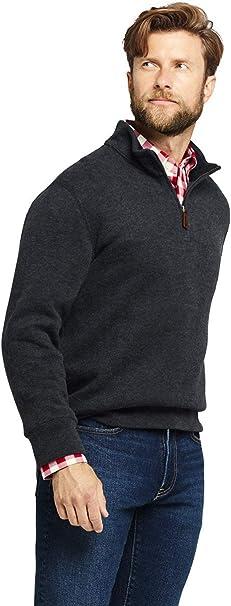 Lands End Mens Bedford Rib Heathered Quarter Zip Sweater