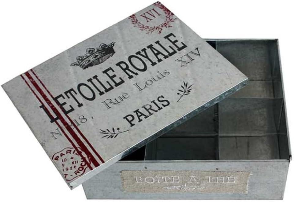 Estilo francesa antigua caja metálica con separadores para archivador lata de patrones de costura para tarro para dulces y golosinas: Amazon.es: Hogar
