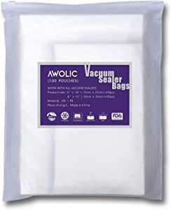 AWOLIC Vacuum Sealer Bags 100pcs (50 Each of Quart&Pint),BPA Free,Commercial Grade, Heavy Duty, Sous Vide,food saver bags work on any clamp external vacuum system.