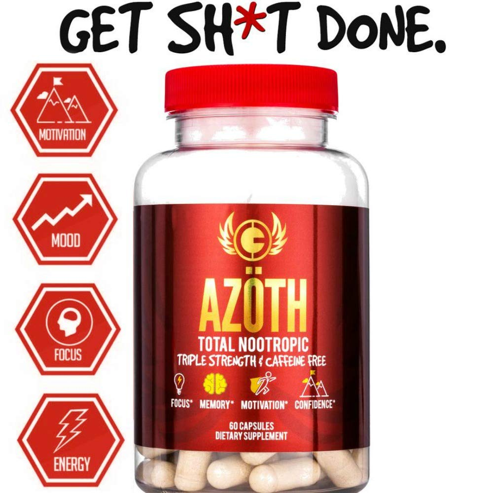 AZOTH Super Strength Nootropic For Focus, Anxiety, Motivation, Confidence, Mood, & Cognitive Enhancement-100% Caffeine Free-MADE IN USA in FDA & cGMP Compliant Facility