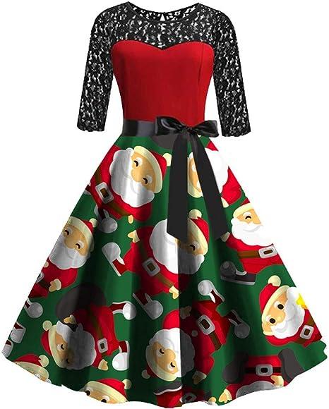 Longzjhd Regalos de Navidad para mujer, fiesta de Navidad, vestido ...