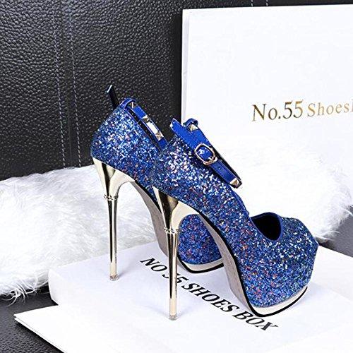 Negozio Sera Notte Donna yc Da Scarpe L 14cm Paillettes Tacchi Pesce Blue Bocca Bene Taiwan Di Con Alti Impermeabile WBq1nx