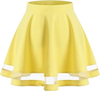 Wedtrend Mini Falda Básico Color Sólido con Elástica Casual Mujer ...