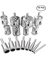 16 Pcs Diamond Drill Bit, AFUNTA Tile Hole Saw Remover Tools for Glass, Porcelain, Ceramic, Granite Stone Drill Bits 6-50mm