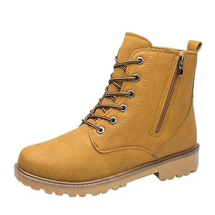 WWricotta LuckyGirls Zapatillas Casual Hombres Botas Cuero de Escalada de Caña Alta Moda Cómodas Calzado Andar