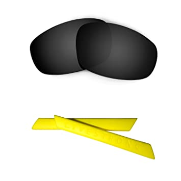 HKUCO Red/24K Gold Polarized Replacement Lenses Plus Black Earsocks Rubber Kit for Oakley Split Jacket X0lrl9Yp