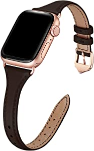 WFEAGL Leather Bands Compatible with Apple Watch 38mm 40mm 42mm 44mm, Top Grain Leather Band Slim & Thin Wristband for iWatch SE & Series 6/5/4/3/2/1 (Dark Brown Band+Rose Gold, 38mm 40mm)